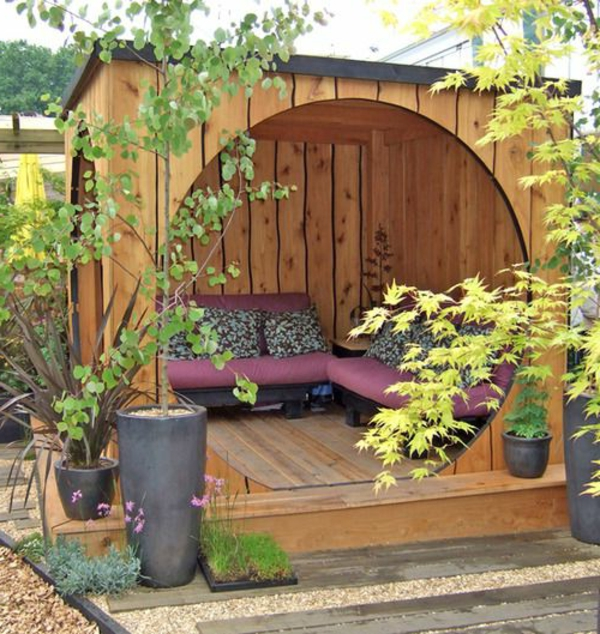 garden gazebo wood round entrance