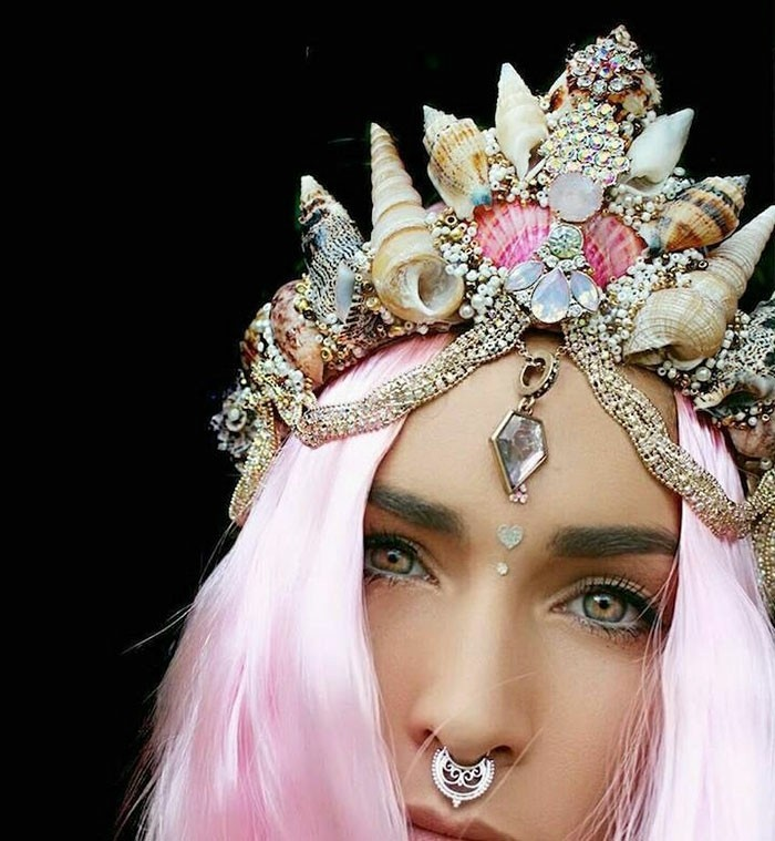 hair accessories headdress mermaid pink hair nose ring