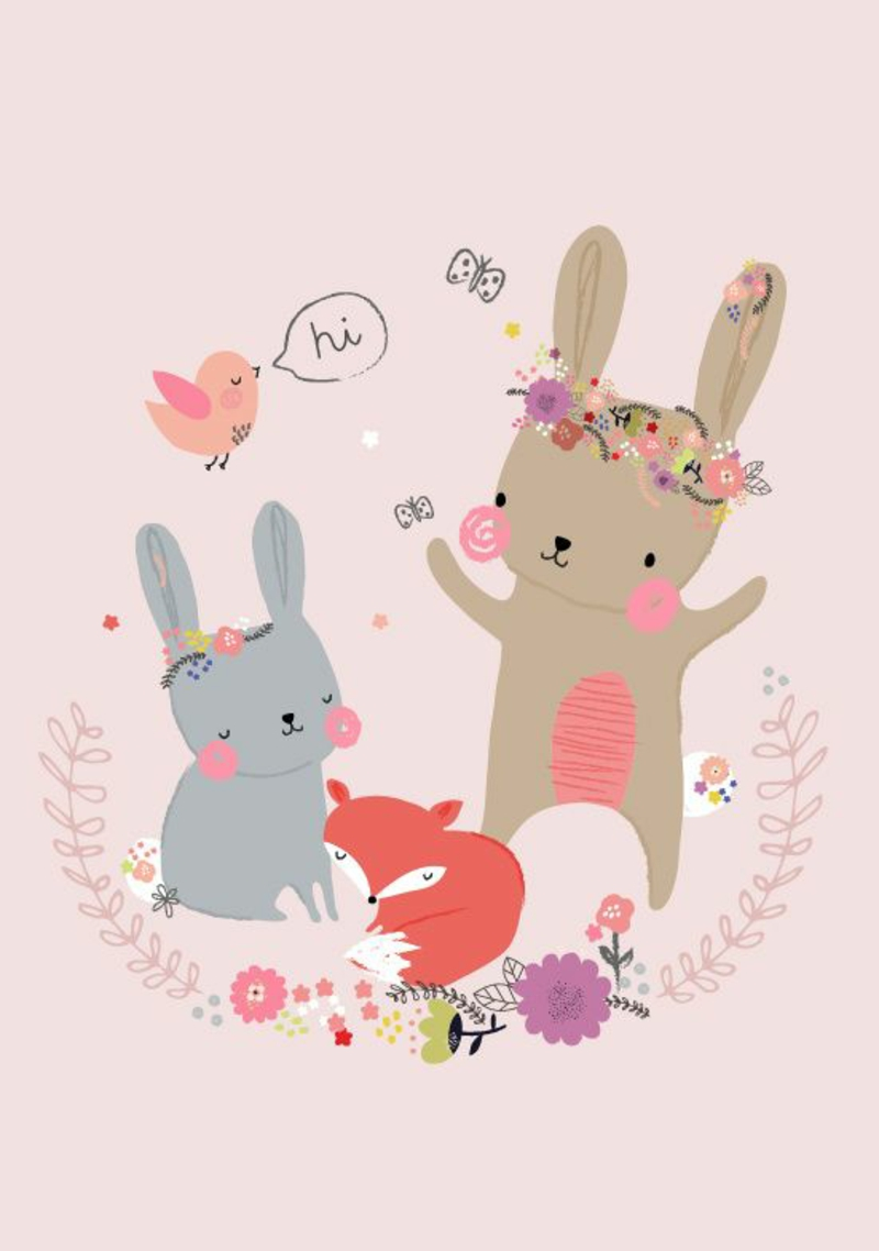 Wallpaper nursery pattern funny forest animals rabbits and fox