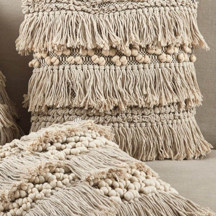 throw fringes moroccan wool boho style