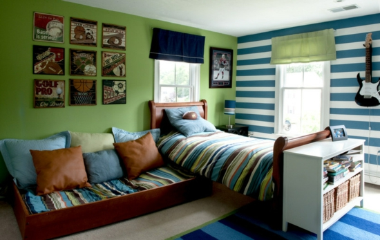 youth room for boys fashion wall paint green blue stripes sports fan