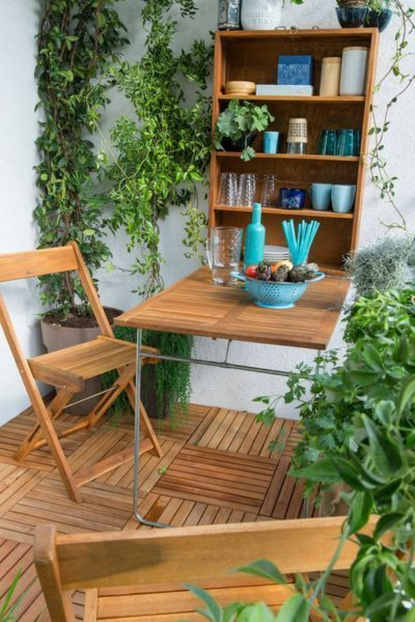 Balconies design wooden chair shelves