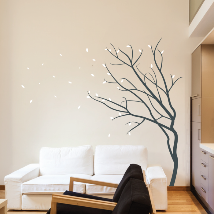 wall decals tree living ideas living room white sofa beige wall