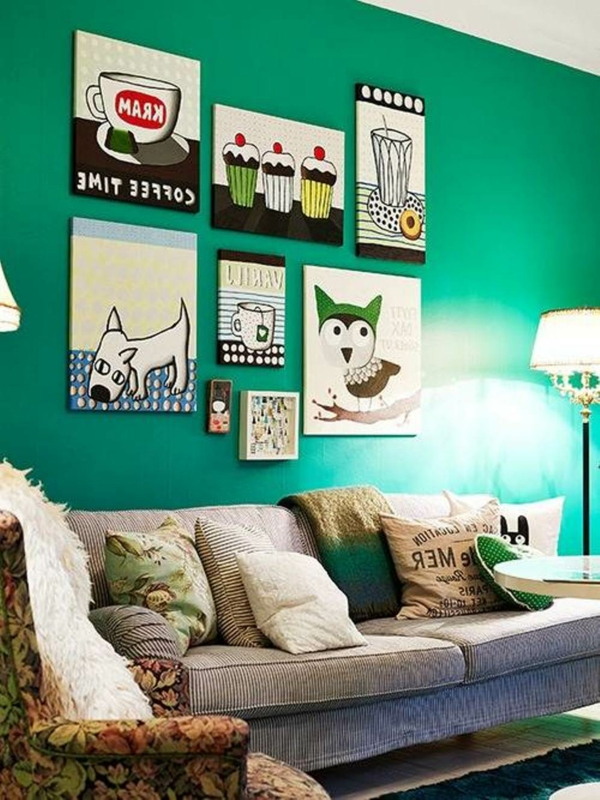 Trend color emerald green as a wall color