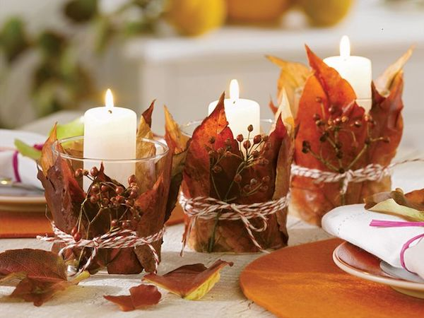 Autumn decoration with candles