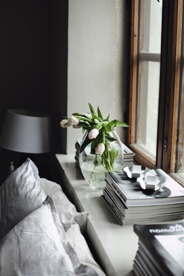 decorating windowsill bedroom decorating spring tulips books