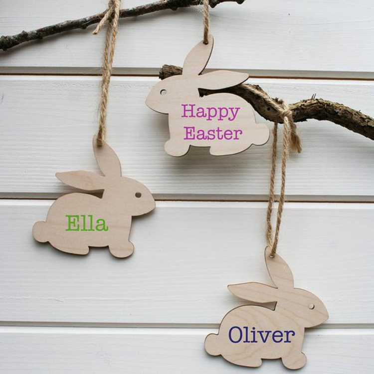 Easter decoration made of wooden decoration Easter decoration ideas hanging Easter bunnies