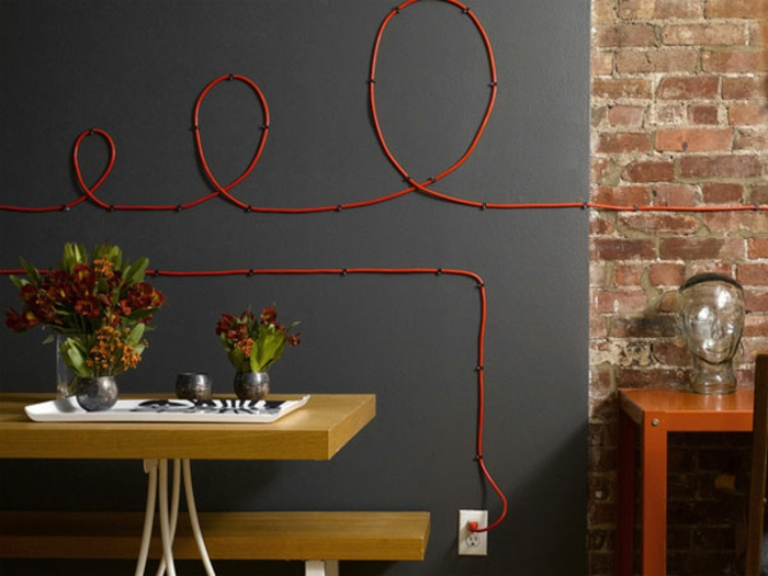 do it yourself decoration red cable spiral