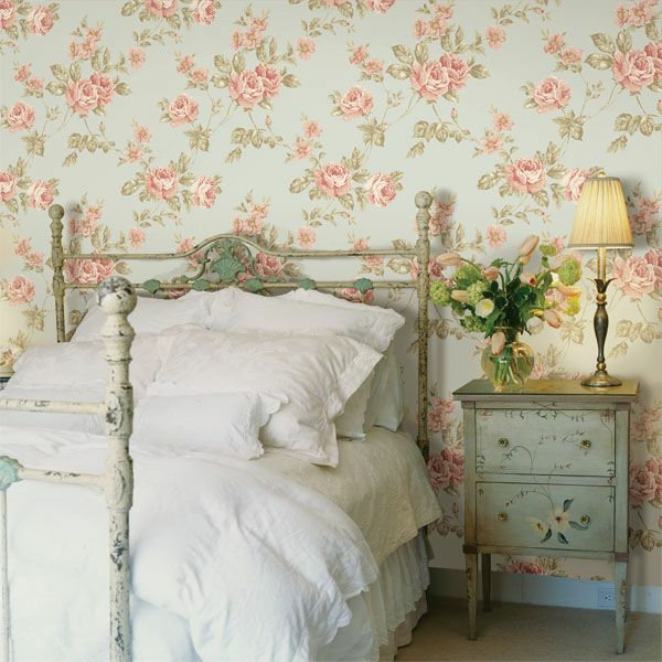 wallpaper country style bedroom fashion white bedding