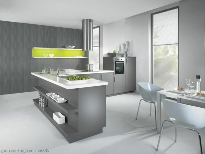 Gray kitchen with green accents