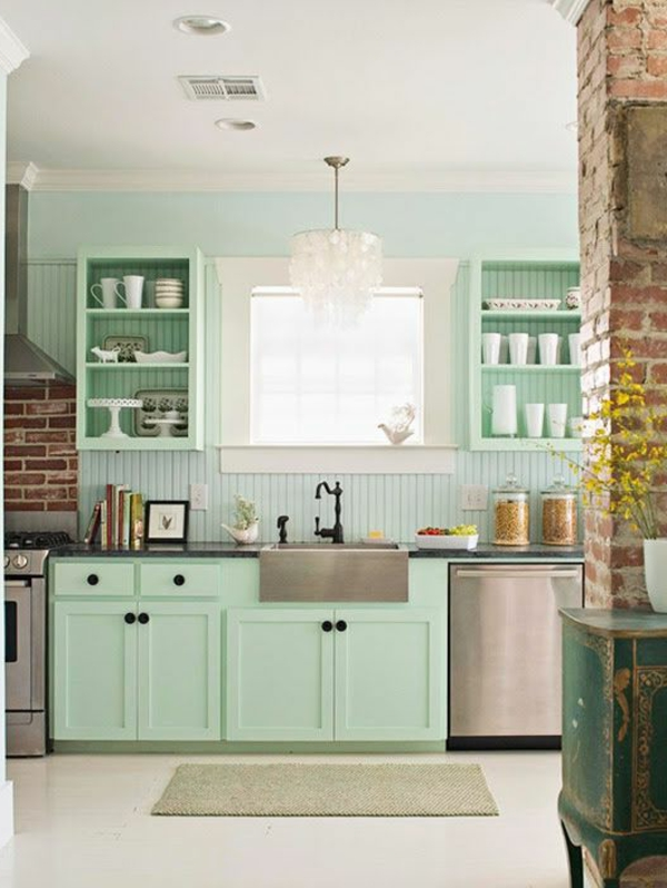mint green wall paint wall design of the kitchen