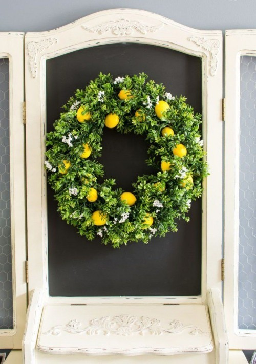Door Wreaths Lemons Green