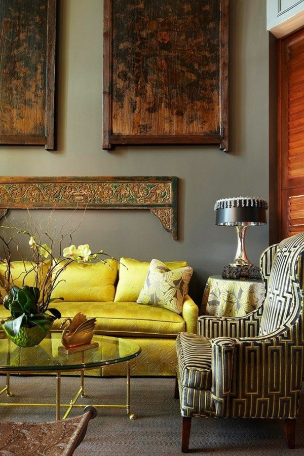 living room sofa luxurious yellow