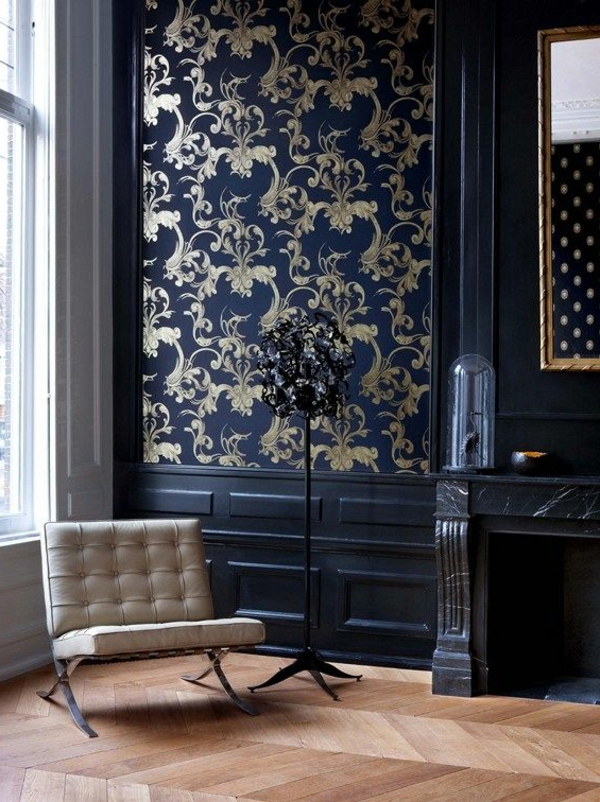 wallpaper pattern stylish dark blue golden ornaments