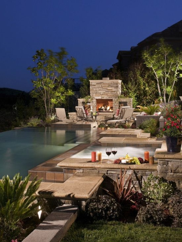 garden design pool hearth plants candles decorating