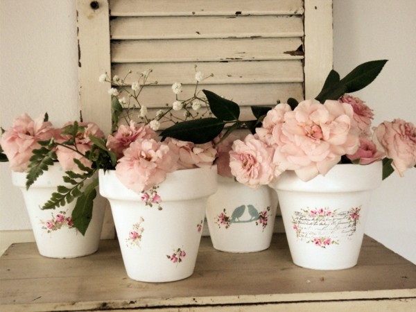decorate flowerpots decoupage shabby chic decor yourself