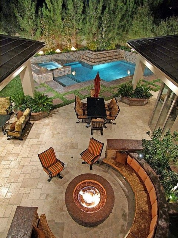garden shape round seating area wood outdoor fireplace pool