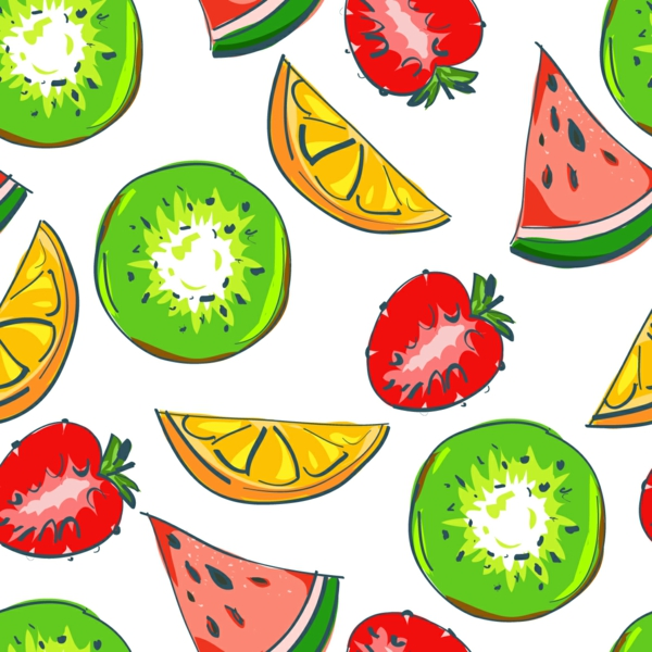 beautiful wallpaper pattern watermelon strawberry fruits