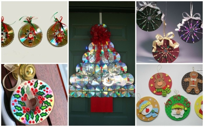 recycling craft with cds upcycling ideas wall deco ideas christmas