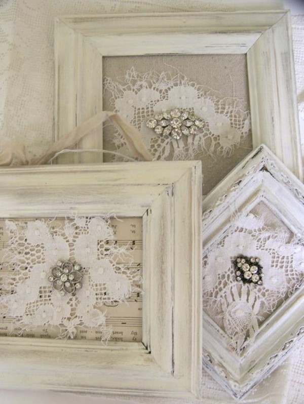 shabby chic deco itself make old picture frames lace rhinestones