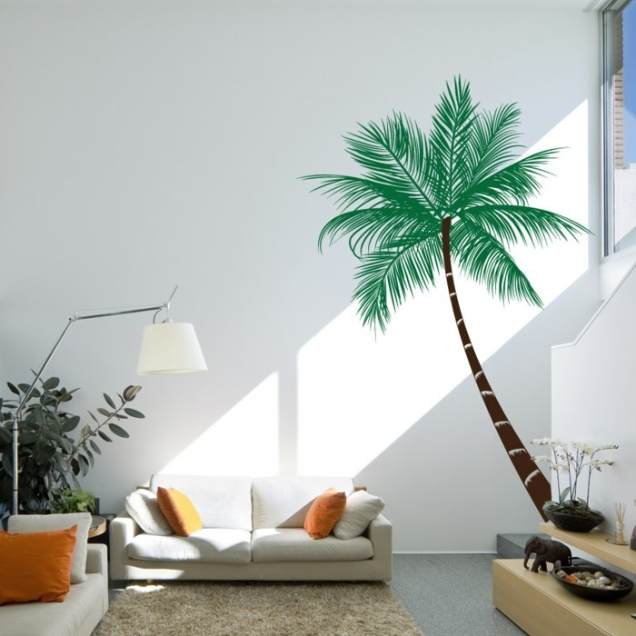 beautiful wall decals palm living room decorating orange accents