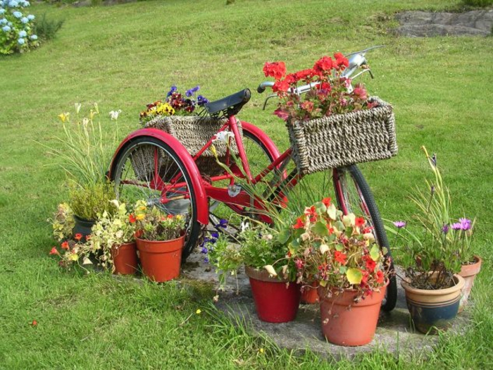 creative gardening ideas for small gardens bicycle wicker baskets