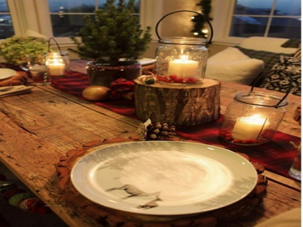 Christmas ambience with rustic decoration