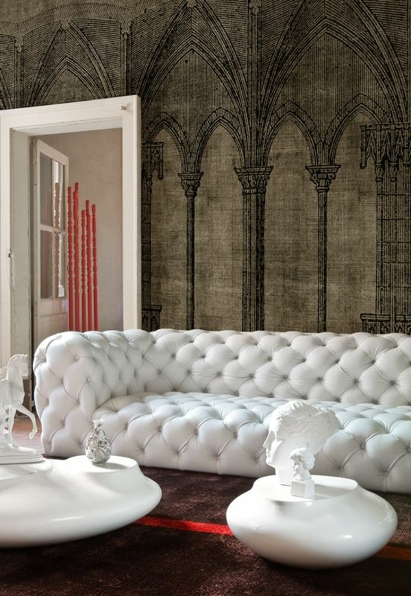 Living room white sofa design